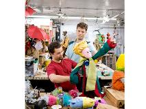 Working together on a puppet