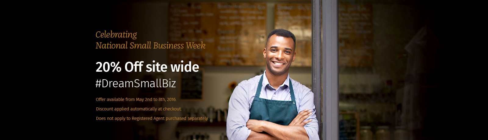 BizFilings celebrates National Small Business Week 2016 with 20% off site wide.